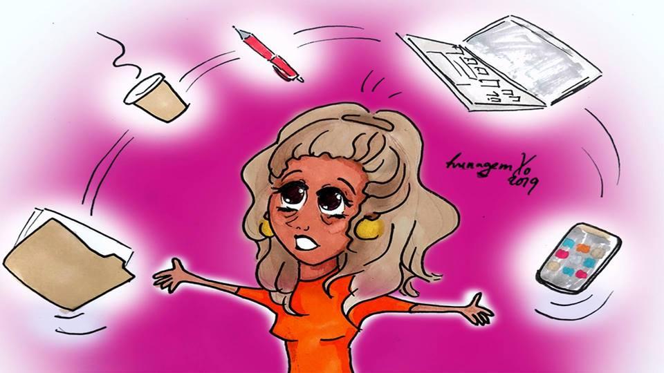 Tegning av dame med mange ting å gjøre